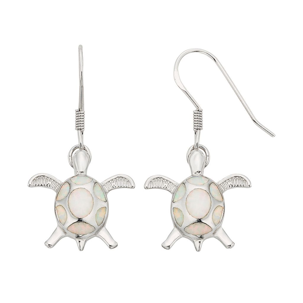 Lab-Created Opal Sterling Silver Turtle Drop Earrings