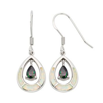 Lab-Created Opal & Cubic Zirconia Sterling Silver Teardrop Earrings
