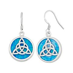 Lab-Created Blue Opal Sterling Silver Triquetra Drop Earrings