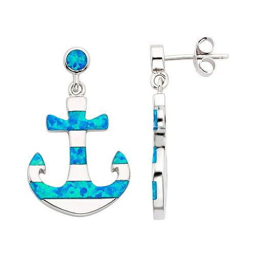 Lab-Created Blue Opal Sterling Silver Anchor Drop Earrings