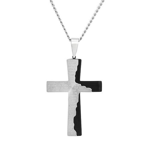 "Stainless Steel Two Tone ""The Lord's Prayer"" Cross Pendant Necklace - Men"