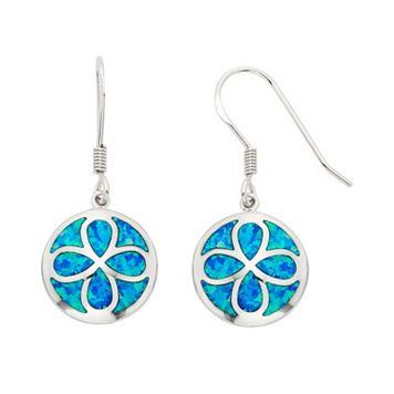 Lab-Created Blue Opal Sterling Silver Flower Drop Earrings