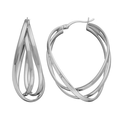 AMORE by SIMONE I. SMITH Sterling Silver Interlock Oval Hoop Earrings