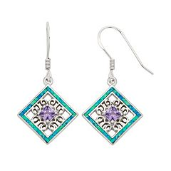 Lab-Created Blue Opal & Cubic Zirconia Sterling Silver Square Drop Earrings