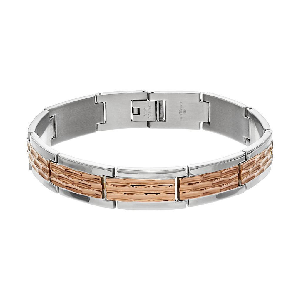 Men's Two Tone Stainless Steel Hammered Rectangle Link Bracelet