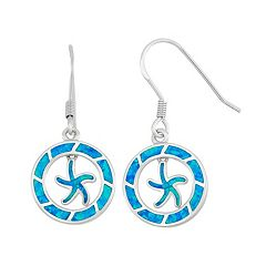 Lab-Created Blue Opal Sterling Silver Starfish Circle Drop Earrings