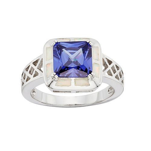Cubic Zirconia & Opal Sterling Silver Halo Openwork Ring