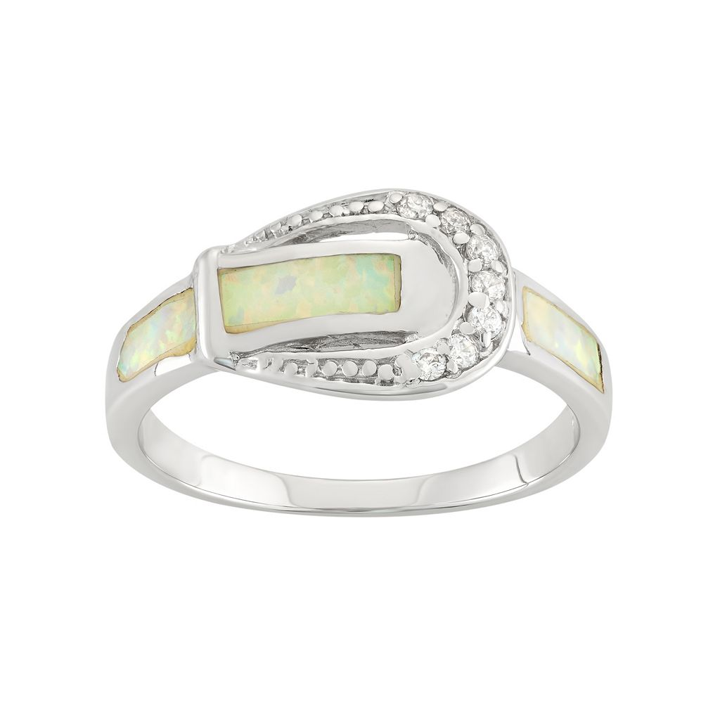 Cubic Zirconia & Lab-Created Opal Sterling Silver Buckle Ring