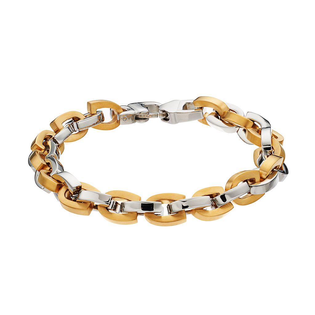 Men's Two Tone Stainless Steel Horseshoe Chain Bracelet