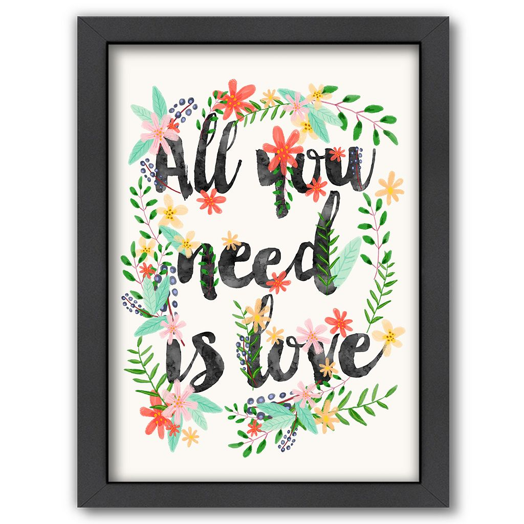 Americanflat ''All You Need Is Love'' Framed Wall Art