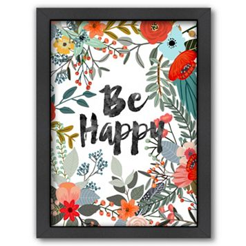 Americanflat ''Be Happy'' Framed Wall Art