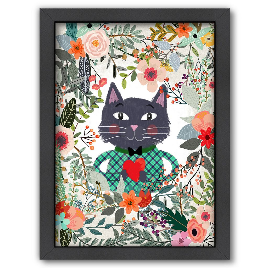 Americanflat Cat and Heart Framed Wall Art