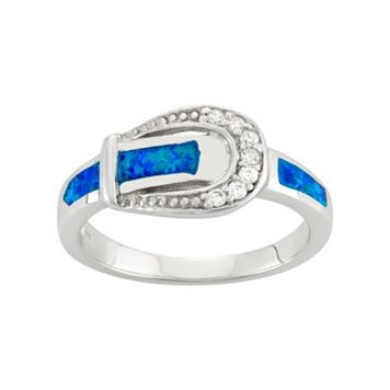 Cubic Zirconia & Lab-Created Blue Opal Sterling Silver Buckle Ring