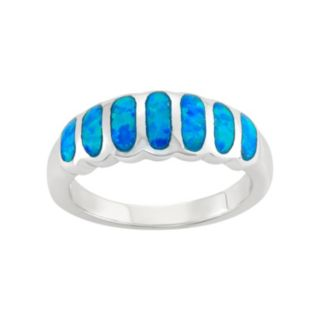 Lab-Created Blue Opal Sterling Silver Ring