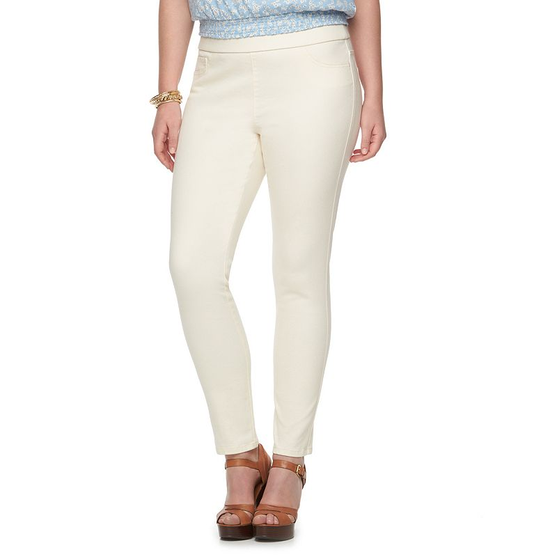 Plus Size Chaps Pull-On Straight-Leg Ankle Pants