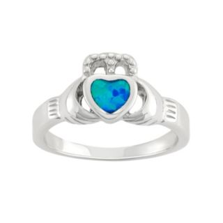 Lab-Created Blue Opal Sterling Silver Claddagh Ring