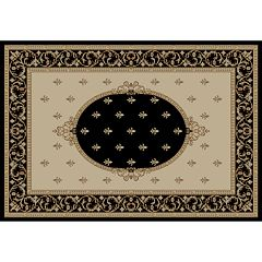 Merinos Fleur de Lis Medallion Framed Rug