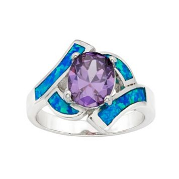 Cubic Zirconia & Lab-Created Blue Opal Sterling Silver Bypass Ring