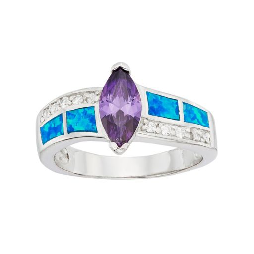 Cubic Zirconia & Lab-Created Blue Opal Sterling Silver Marquise Ring