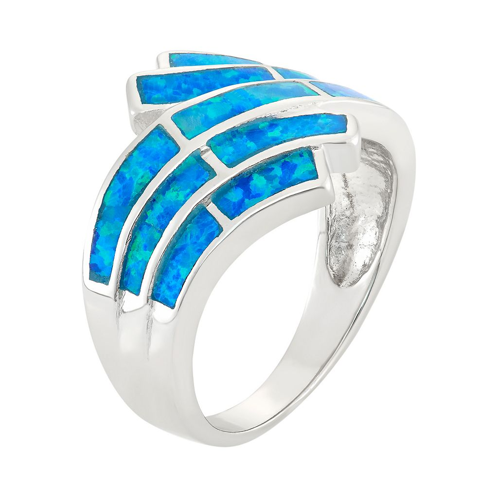 Lab-Created Blue Opal Sterling Silver Wave Bypass Ring