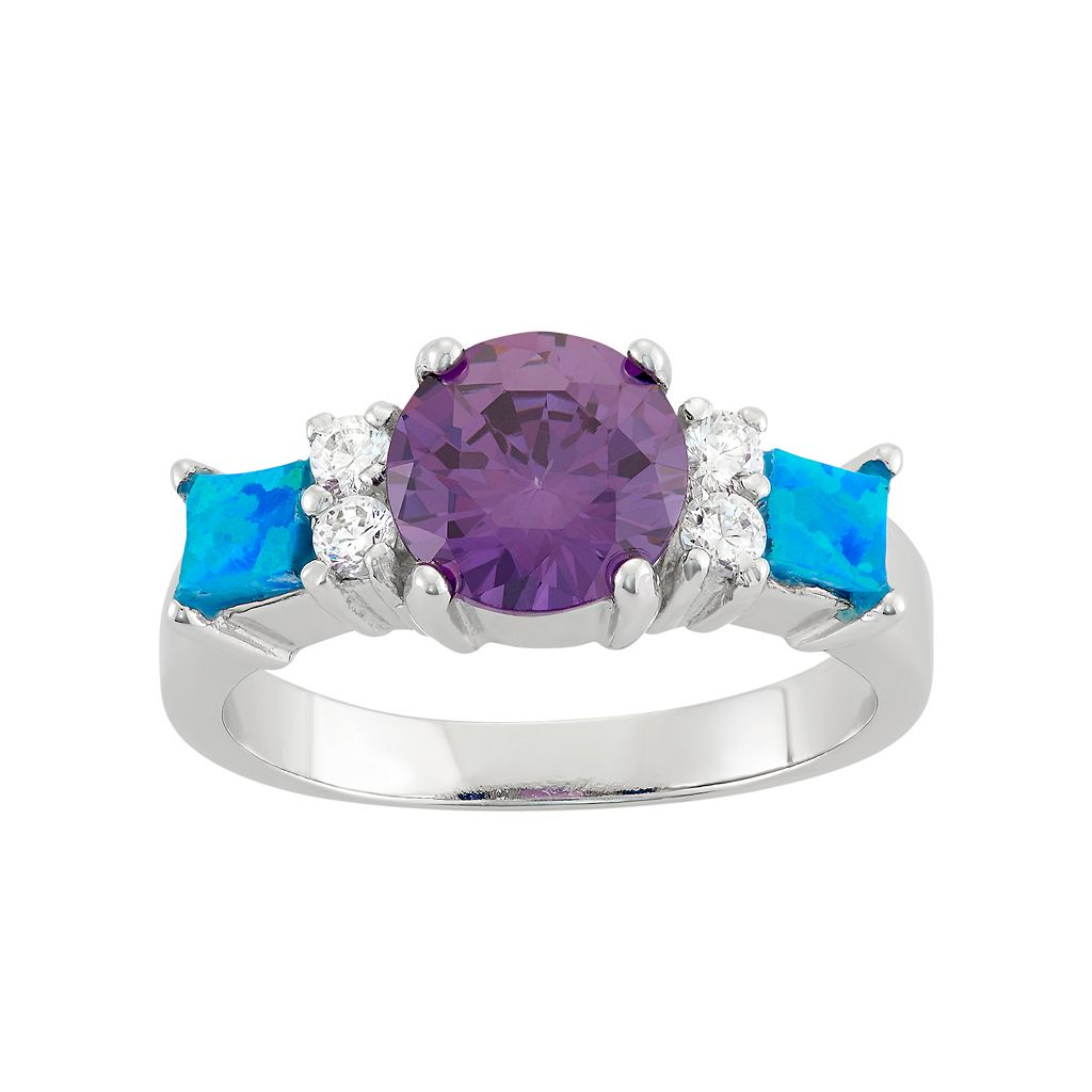 Cubic Zirconia & Lab-Created Blue Opal Sterling Silver 3-Stone Ring