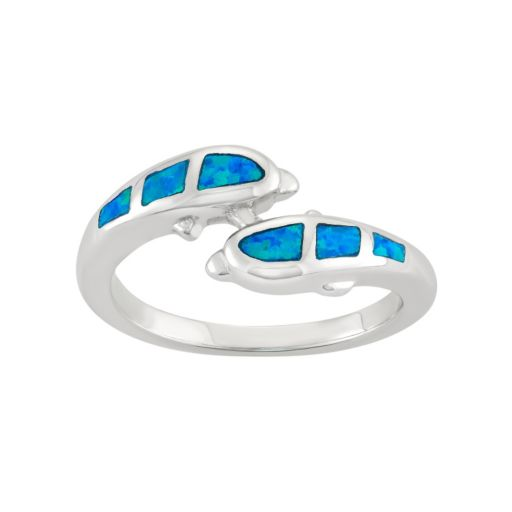 Lab-Created Blue Opal Sterling Silver Dolphin Bypass Ring