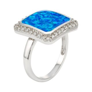 Lab-Created Blue Opal & Cubic Zirconia Sterling Silver Square Halo Ring