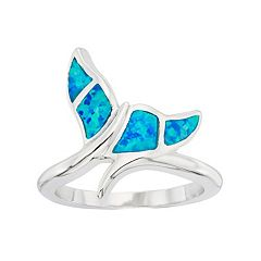 Lab-Created Blue Opal Sterling Silver Whale Tail Ring