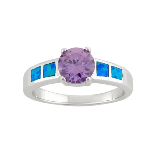 Cubic Zirconia & Lab-Created Blue Opal Sterling Silver Ring