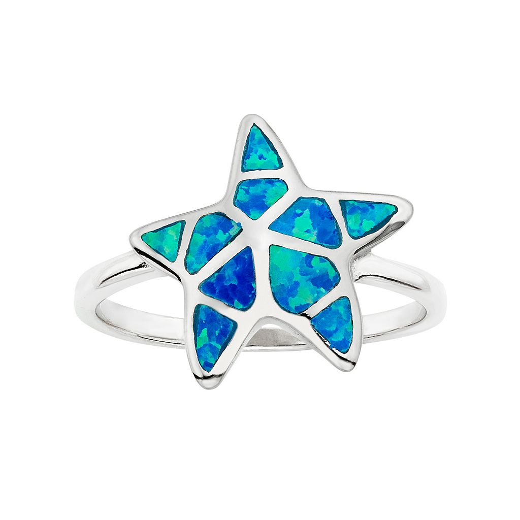 Lab-Created Blue Opal Sterling Silver Starfish Ring