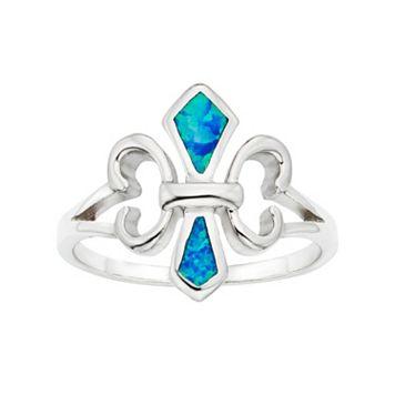 Lab-Created Blue Opal Sterling Silver Fleur de Lis Ring