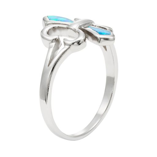 Lab-Created Blue Opal Sterling Silver Fleur de Lis Ring