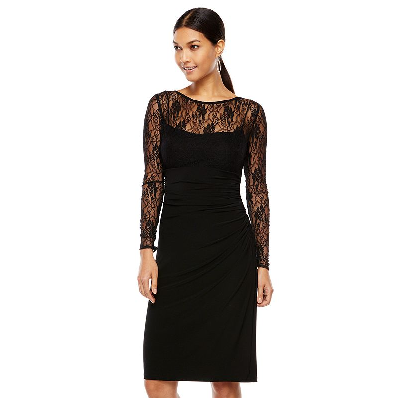 Chaps Ruched Mixed-Media Dress - Women's