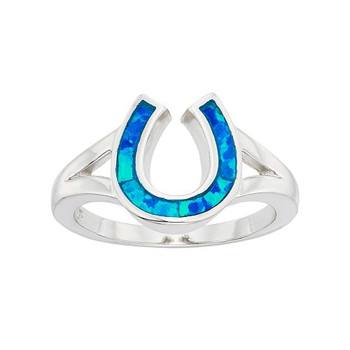 Lab-Created Blue Opal Sterling Silver Horseshoe Ring
