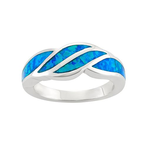 Lab-Created Blue Opal Sterling Silver Swirl Ring