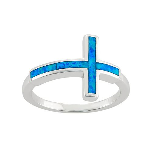 Lab-Created Blue Opal Sterling Silver Sideways Cross Ring