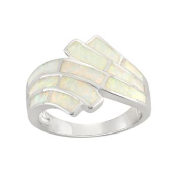 Lab-Created Opal Sterling Silver Wave Bypass Ring