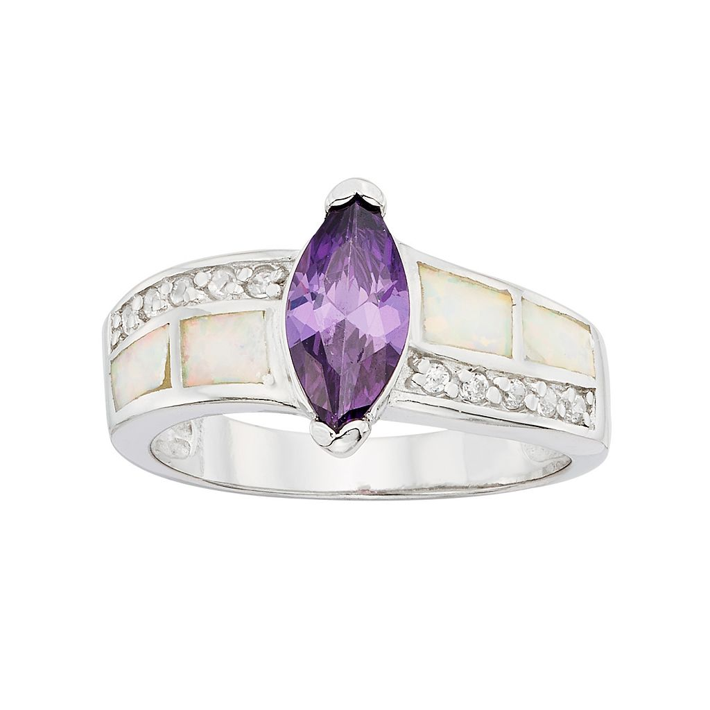 Cubic Zirconia & Lab-Created Opal Sterling Silver Marquise Ring