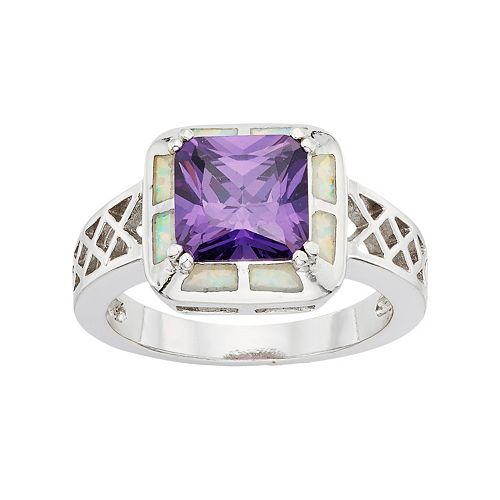 Cubic Zirconia & Lab-Created Opal Sterling Silver Square Ring