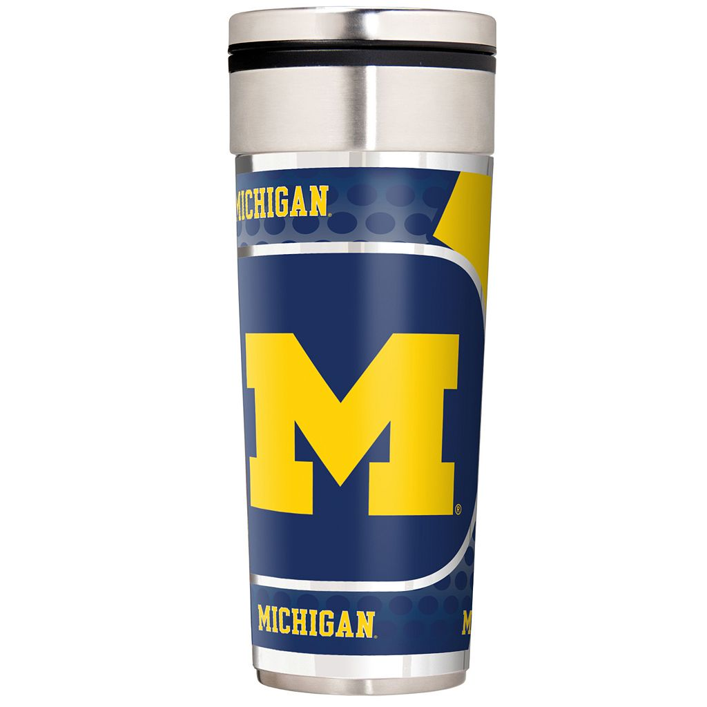 Michigan Wolverines 22-Ounce Stainless Steel Metallic Travel Tumbler