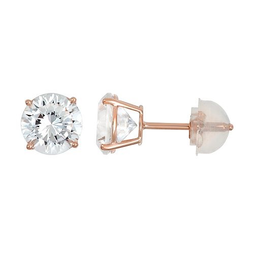100 Facets of Love 10k Rose Gold Lab-Created White Sapphire Stud Earrings