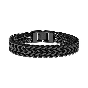 LYNX Black Ion-Plated Stainless Steel Wheat Chain Bracelet - Men