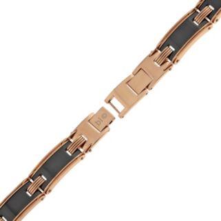 LYNX Pink Ion-Plated Stainless Steel & Black Ceramic Bracelet - Men