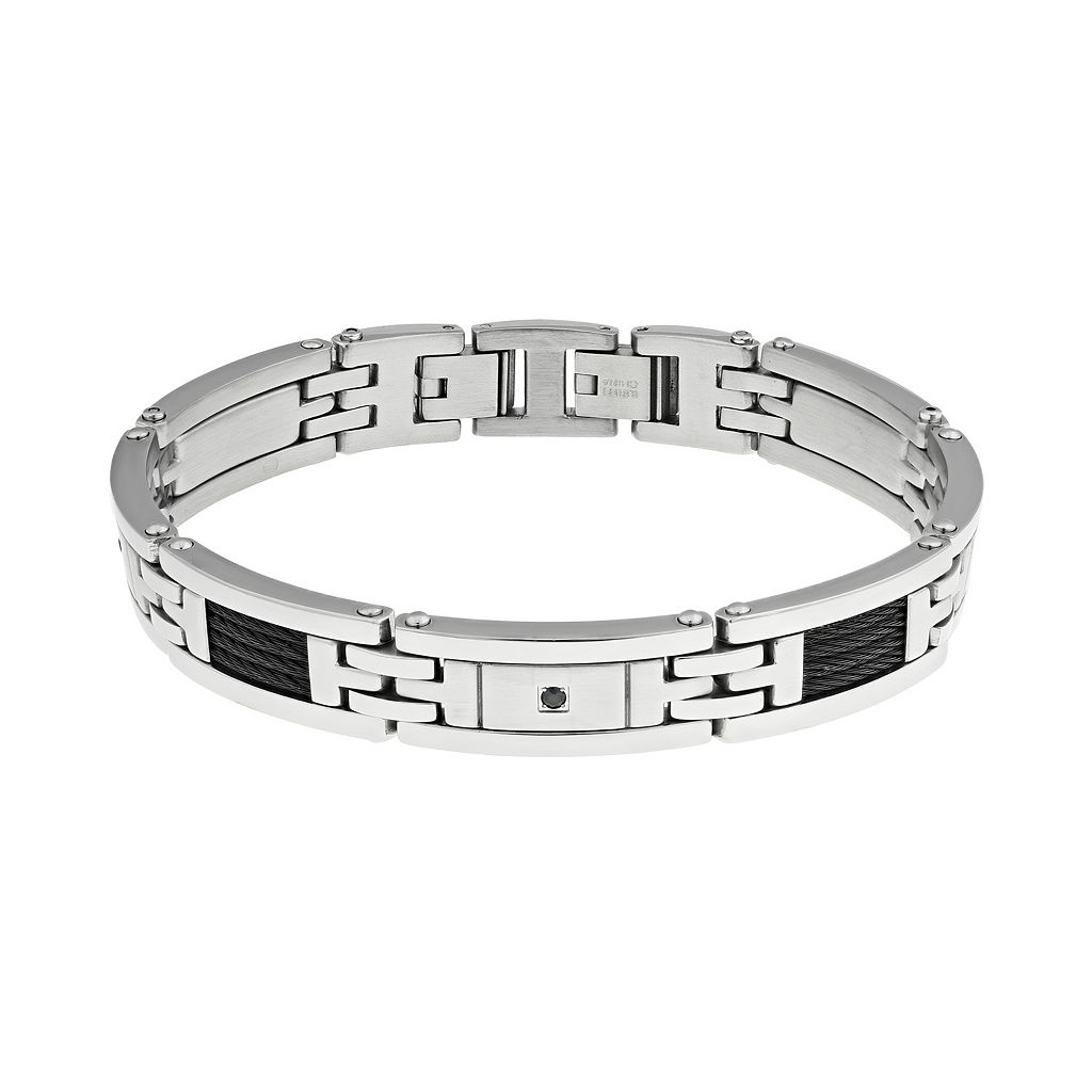 LYNX Cubic Zirconia Stainless Steel Two Tone Bracelet - Men