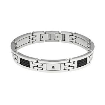 LYNX Cubic Zirconia Stainless Steel Two Tone Bracelet - Men