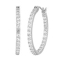 100 Facets of Love Sterling Silver Lab-Created White Sapphire Inside-Out hoop Earrings