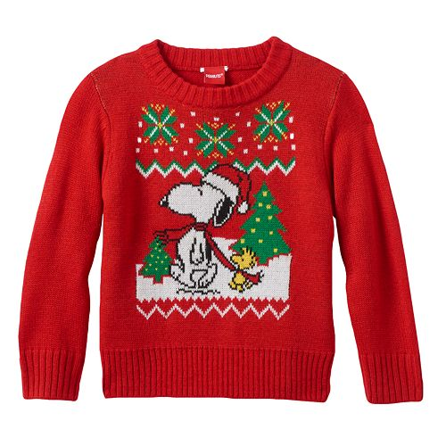 peanuts snoopy woodstock christmas sweater toddler boy