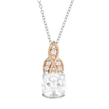 100 Facets of Love 10k Gold Lab-Created White Sapphire Pendant
