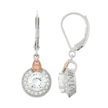 100 Facets of Love Sterling Silver Lab-Created White Sapphire Halo Drop Earrings