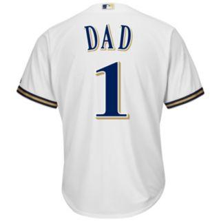 Men's Majestic Milwaukee Brewers #1 Dad Replica Jersey